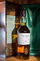 75cl bottle of 35 year old Talisker single malt Scotch Whisky and presentation case available from the shop at the end of the visitors tour at the Distillery in Carbost on Isle of Skye, Scotland