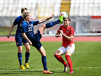 20190304 - LARNACA , CYPRUS : Austrian Jasmin Eder (r) pictured with Slovakian Veronika Slukova during a women's soccer game between Slovakia and Austria , on Monday 4 th March 2019 at the GSZ Stadium in Larnaca , Cyprus . This is the third and last game in group C for both teams during the Cyprus Womens Cup 2019 , a prestigious women soccer tournament as a preparation on the Uefa Women's Euro 2021 qualification duels. PHOTO SPORTPIX.BE | DAVID CATRY