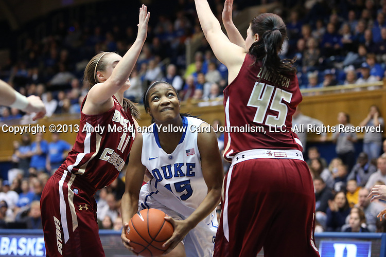 27 January 2013: Duke's Richa Jackson (15) is defended by Boston College's Nicole Boudreau (11) and Katie Zenevitch (45). The Duke University Blue Devils played the Boston College Eagles at Cameron Indoor Stadium in Durham, North Carolina in an NCAA Division I Women's Basketball game. Duke won the game 80-56.