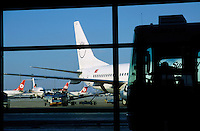 Bus transferring passengers to their plane, Atatürk International Airport, Istanbul, Turkey.