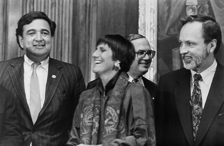 Rep. Bill Richardson, D-N.M., Rep. Rosa DeLauro, D-Conn., Rep. Martin Frost, D-Tex., and Rep. David Bonior, D-Mich., during the elections, on Dec. 15, 1994. (Photo by Laura Patterson/CQ Roll Call via Getty Images)