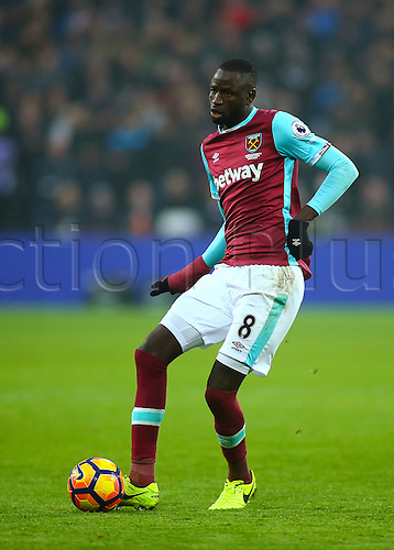 February 11th 2017, London Stadium, London, England, Premier League football, West Ham versus West Bromwich Albion;  Cheikhou Kouyate of West Ham knocks the ball forward