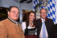 """--- NO TABLOIDS, NO WEB SITE --- De gauche ‡ droite, Tonio Arcaini de la brasserie Weihenstephan, son Èpouse Rebecca, et le Prince Albert II de Monaco participent ‡ la soirÈe d'ouverture de la 11Ëme Èdition de l'Oktoberfest au CafÈ de Paris le 14 octobre 2016. La SociÈtÈ des Bains de Mer cÈlËbre """"Oktoberfest"""" selon la pure tradition bavaroise, en partenariat avec la brasserie Weihenstephan, biËre munichoise. Les dinners se dÈroulent sous le chapiteau installÈ et†dÈcorÈ pour loccasion du 14 au 23 octobre 2016."""