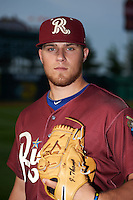 Frisco RoughRiders pitcher Jake Thompson (35) poses for a photo before a game against the Springfield Cardinals on June 4, 2015 at Hammons Field in Springfield, Missouri.  Frisco defeated Springfield 8-7.  (Mike Janes/Four Seam Images)