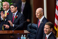 TALLAHASSEE, FLA. 1/12/16-Gov. Rick Scott, second from right, delivers the state of the state address Tuesday at the Capitol in Tallahassee.<br /> <br /> COLIN HACKLEY PHOTO