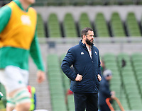 8th February 2020; Aviva Stadium, Dublin, Leinster, Ireland; International Six Nations Rugby, Ireland versus Wales; Irish head coach Andy Farrell watches on as the team warms up
