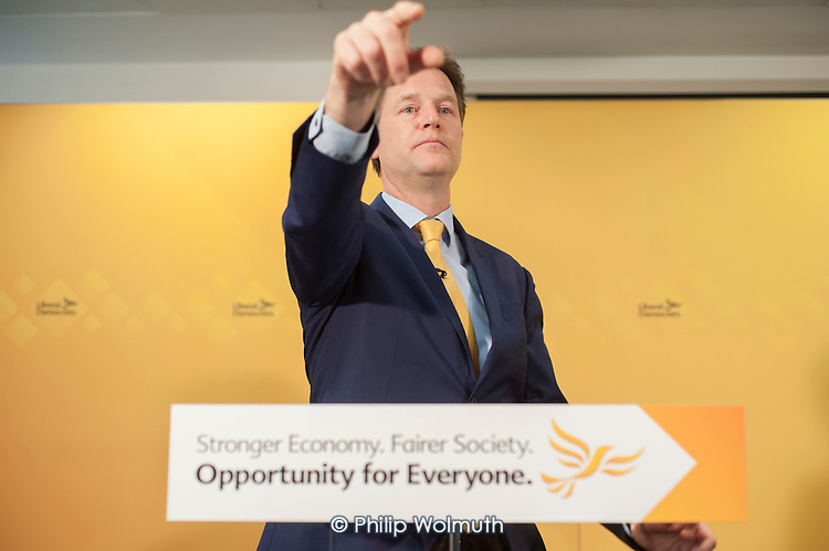 Nick Clegg. Liberal Democrat pre-election press conference, Westminster, London.