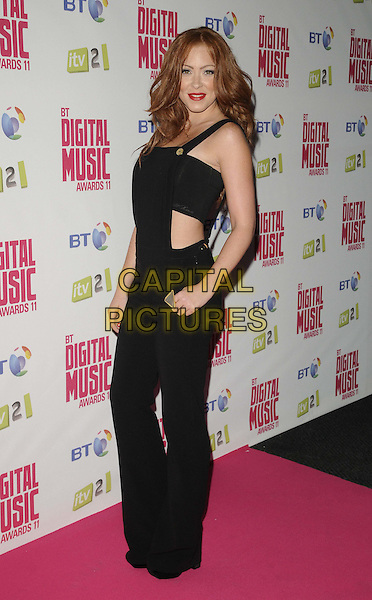 Natasha Hamilton.BT Digital Music Awards held at the Roundhouse, Chalk Farm, London, England..September 29th 2011.full length black overalls dungarees boob tube belly stomach midriff side .CAP/CAN.©Can Nguyen/Capital Pictures.