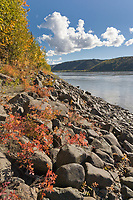 Rocky shore along the Yukon River, interior Alaska.