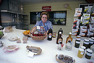 Ile D'Orleans, Quebec City Area, Canada, June 8, 1984. A farmer selling some local products on a market.