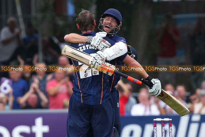 Tom Westley of Essex celebrates his century from 55 balls  with James Foster - Essex Eagles vs Kent Spitfires - NatWest T20 Blast Cricket at Castle Park, Colchester, Essex - 12/07/14 - MANDATORY CREDIT: Gavin Ellis/TGSPHOTO - Self billing applies where appropriate - contact@tgsphoto.co.uk - NO UNPAID USE