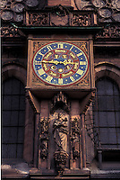 France, Alsace, Strasbourg, Bas-Rhin, Europe, cathedral, wine region, Astronomical Clock at the Notre Dame Cathedral in the city of Strasbourg, the capital of Bas-Rhin, in the wine region of Alsace.
