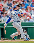 20 May 2018: Los Angeles Dodgers catcher Yasmani Grandal at bat in the second inning against the Washington Nationals at Nationals Park in Washington, DC. The Dodgers defeated the Nationals 7-2, sweeping their 3-game series. Mandatory Credit: Ed Wolfstein Photo *** RAW (NEF) Image File Available ***
