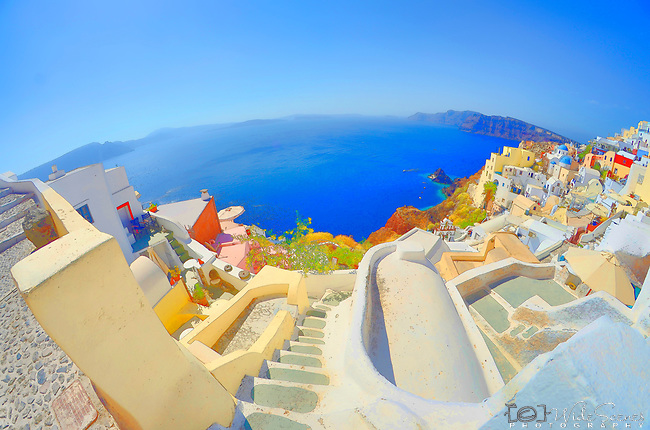 A painted fisheye view of the caldera in Santorini, Greece.