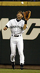 Seattle Mariners' right fielder Ichiro Suzuki catches Kansas City Royals' Ruben Gotay's fly ball in the second inning of their game at Safeco Field in Seattle, Washington on Thursday, 26 August 2004. Jim Bryant Photo. ©2010. ALL RIGHTS RESERVED.