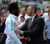 ( L-R ) Vincent Kompany of Manchester City greeted by Lee Trundle of Swansea during the Swansea City FC v Manchester City Premier League game at the Liberty Stadium, Swansea, Wales, UK, Sunday 15 May 2016