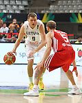 07.09.2014. Barcelona, Spain. 2014 FIBA Basketball World Cup, round of 8. Picture show R. Seibutis in action during game between Lithuania v Turkey at Palau St. Jordi.