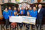 The West End Bar in Fenit present the sum of €1,500 to both the Kerry Hospice Palliative Care and to the Kerry Cancer Support Group on Monday night.<br /> Front l to r: Marie McSwiney (Kerry Hospice), Brian O'Keeffe (West End Bar) and Breda Dyland (Kerry Cancer Support).<br /> Back l to r: Christine Gallagher, Mairead Moriarty, Mary Kelly, Marie Hutchinson, Joe Hennerbry (Kerry Hospice), Linda Gleeson, Margaret O'Shea, Norma Lee and Dan O'Keeffe.