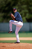 Atlanta Braves pitcher Chad Sobotka (55) delivers a pitch during an Instructional League game against the Detroit Tigers on October 10, 2017 at the ESPN Wide World of Sports Complex in Orlando, Florida.  (Mike Janes/Four Seam Images)