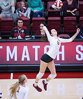 STANFORD, CA - November 4, 2018: Michaela Keefe, Jenna Gray at Maples Pavilion. No. 2 Stanford Cardinal defeated the Utah Utes 3-0.
