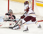 Chloe Desjardins (NU - 29), Haley Skarupa (BC - 22) - The Boston College Eagles defeated the Northeastern University Huskies 3-0 on Tuesday, February 11, 2014, to win the 2014 Beanpot championship at Kelley Rink in Conte Forum in Chestnut Hill, Massachusetts.