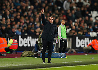 28th December 2019; London Stadium, London, England; English Premier League Football, West Ham United versus Leicester City; Leicester City Manager Brendan Rogers gives instructions to his players from the touchline  - Strictly Editorial Use Only. No use with unauthorized audio, video, data, fixture lists, club/league logos or 'live' services. Online in-match use limited to 120 images, no video emulation. No use in betting, games or single club/league/player publications