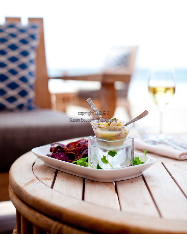 The Four Seasons Resort Hualalai at Historic Kaupulehu on the Big Island of Hawaii. Chef Nick's Ceviche at the Beach Tree Restaurant.