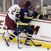 Colin Sullivan (BC - 2), Mike Collins (Merrimack - 13) - The Boston College Eagles defeated the visiting Merrimack College Warriors 4-3 on Friday, November 16, 2012, at Kelley Rink in Conte Forum in Chestnut Hill, Massachusetts.