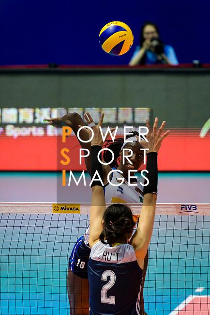 Paola Ogechi Egonu of Italy attacks during the FIVB Volleyball Nations League Hong Kong match between China and Italy on May 31, 2018 in Hong Kong, Hong Kong. Photo by Marcio Rodrigo Machado / Power Sport Images