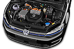 Car Stock 2015 Volkswagen GOLF e-Golf 5 Door Hatchback 2WD Engine high angle detail view