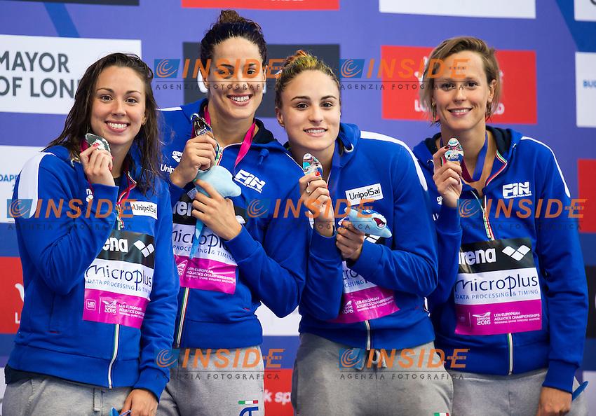 Team ITA silver medal<br /> London, Queen Elizabeth II Olympic Park Pool <br /> LEN 2016 European Aquatics Elite Championships <br /> Swimming<br /> Women's 4x100m freestyle final <br /> Day 08 16-05-2016<br /> Photo Giorgio Perottino/Deepbluemedia/Insidefoto