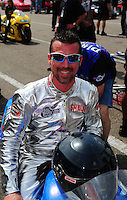 Mar. 9, 2012; Gainesville, FL, USA; NHRA pro stock motorcycle rider Shaun Gann during qualifying for the Gatornationals at Auto Plus Raceway at Gainesville. Mandatory Credit: Mark J. Rebilas-