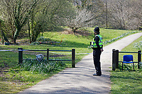 Pictured: Police at Ystrad Mynach Park in south Wales, UK. Saturday 13 April 2019<br /> Re: A 13-year-old boy has died after being found unconscious in Ystrad Mynach Park, Caerphilly County, at about 7.20pm on Friday 12 April.<br /> The teen was taken to University Hospital of Wales in Cardiff where he was pronounced dead.