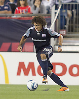 New England Revolution defender Kevin Alston (30) on the attack. In a Major League Soccer (MLS) match, the Los Angeles Galaxy defeated the New England Revolution, 1-0, at Gillette Stadium on May 28, 2011.