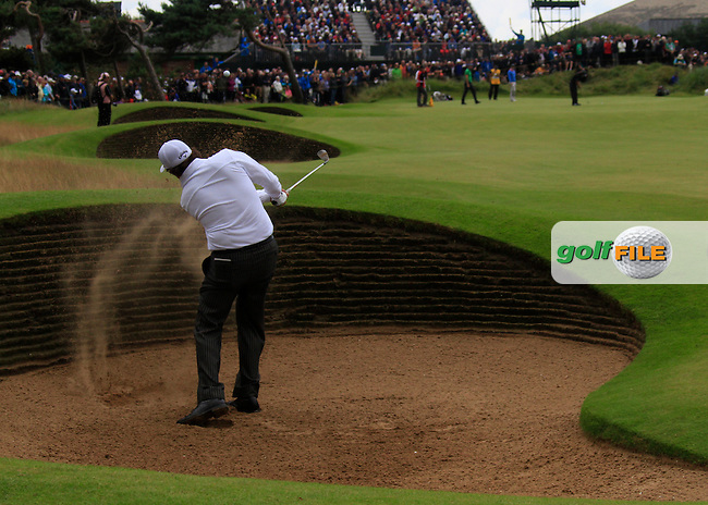 Phil Mickelson (USA) plays out of a fairway bunker on the 13th hole during Friday's Round 2 of the 141st Open Championship at Royal Lytham & St.Annes, England 20th July 2012 (Photo Eoin Clarke/www.golffile.ie)