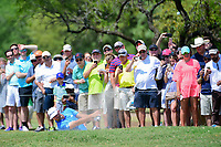 Dustin Johnson (USA) hits his approach shot from the trap on 1 during round 7 of the World Golf Championships, Dell Technologies Match Play, Austin Country Club, Austin, Texas, USA. 3/26/2017.<br /> Picture: Golffile | Ken Murray<br /> <br /> <br /> All photo usage must carry mandatory copyright credit (&copy; Golffile | Ken Murray)