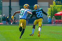 Green Bay Packers wide receiver Trevor Davis (11) and cornerback Josh Hawkins (28) during a training camp practice on August 15, 2017 at Ray Nitschke Field in Green Bay, Wisconsin.   (Brad Krause/Krause Sports Photography)
