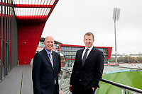 Picture By Allan McKenzie/SWpix.com - 11/04/18 - Cricket - Lancashire County Cricket Club Photo Call Media Day 2018 - Emirates Old Trafford, Manchester, England - Daniel Gidney with MCL's Neil Lawson.