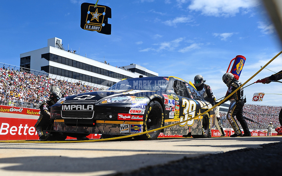 May 16, 2010; Dover, DE, USA; NASCAR Sprint Cup Series driver Ryan Newman pits during the Autism Speaks 400 at Dover International Speedway. Mandatory Credit: Mark J. Rebilas-