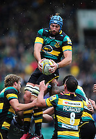 Michael Paterson of Northampton Saints wins the ball at a lineout. Aviva Premiership match, between Northampton Saints and Bath Rugby on September 3, 2016 at Franklin's Gardens in Northampton, England. Photo by: Patrick Khachfe / Onside Images
