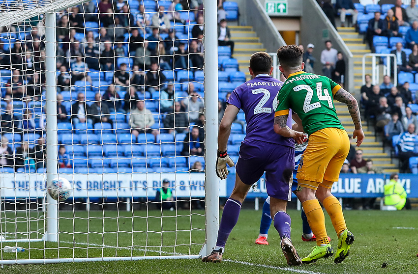 Preston North End's Sean Maguire looks on as a shot from team mate Jayden Stockley crosses the line for their first goal<br /> <br /> Photographer Andrew Kearns/CameraSport<br /> <br /> The EFL Sky Bet Championship - Reading v Preston North End - Saturday 30th March 2019 - Madejski Stadium - Reading<br /> <br /> World Copyright © 2019 CameraSport. All rights reserved. 43 Linden Ave. Countesthorpe. Leicester. England. LE8 5PG - Tel: +44 (0) 116 277 4147 - admin@camerasport.com - www.camerasport.com