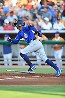 Biloxi Shuckers third baseman Jake Gatewood (7) runs to first base during a game against the Tennessee Smokies at  on August 10, 2019 in Kodak, Tennessee. The Shuckers defeated the Smokies 7-3. (Tony Farlow/Four Seam Images)