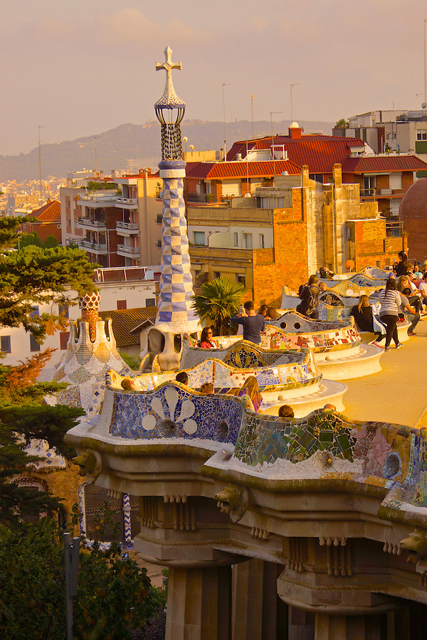 Barcelona, Spain, Park Guell, Designed by Antoni Gaudi, Terrace