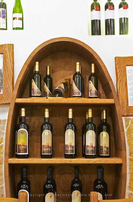 In the winery wine shop, display of various wines from the winery. Podrum Vinoteka Sivric winery, Citluk, near Mostar. Federation Bosne i Hercegovine. Bosnia Herzegovina, Europe.
