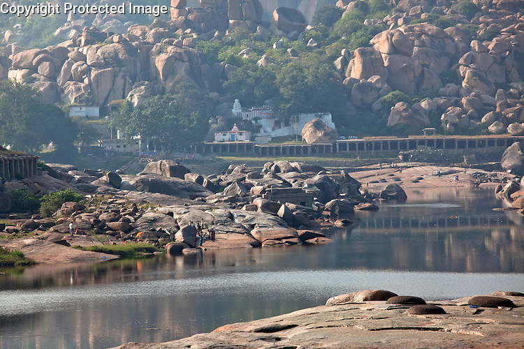 Hampi in the Indian state of Karnataka, according to Hindu myth, is the birth place of Hanuman the monkey god and an especially holy site for Hindus.