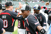 August 8, 2009:  Yordy Cabrera of the Baseball Factory team celebrates after winning the Under Armour All-America game at Wrigley Field in Chicago, Illinois.  (Copyright Mike Janes Photography)
