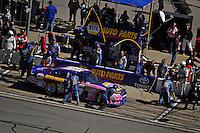 Martin Truex,Jr. (#56) makes a pit stop.