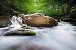 A mountain stream in the Great Smoky Mountains National Park. There are few more beautiful places to get a photo than the Smoky Mountains. In this long exposure photo, the rushing water blurs to a silky smooth texture past the rocks in the mountain stream.