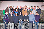 TOP PLOUGH: Mikey O'Halloran, Ballyheigue Ploughing Society and Aeneas Horan Ardfert, Ploughing Society (front 4th & 5th left) receiving a hero's weclome in Ballyheigue after their triumph in the Ploughing Championship on Friday.