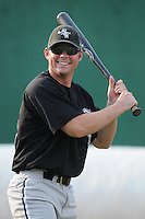 Outfielder Cory Farris (45) of the Bristol White Sox, Appalachian League affiliate of the Chicago White Sox, prior to a game against the Elizabethton Twins on August 18, 2011, at Joe O'Brien Field in Elizabethton, Tennessee. Elizabethton defeated Bristol, 13-3. (Tom Priddy/Four Seam Images)